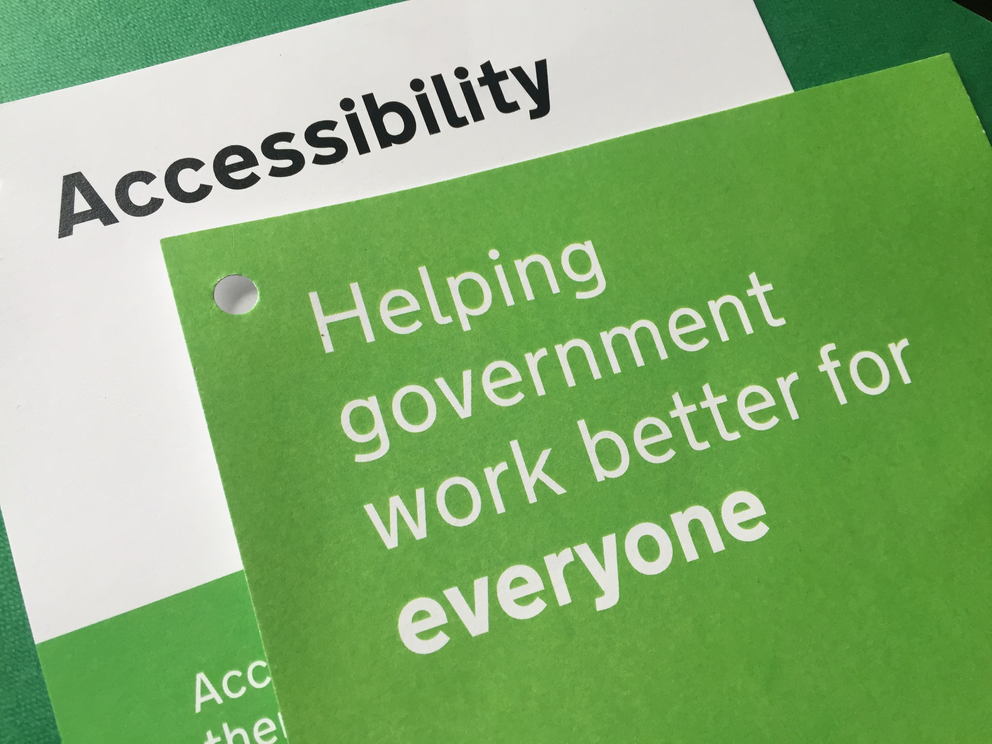 Pages of the delegate pack stating 'accessibility' and 'helping government work better for everyone'