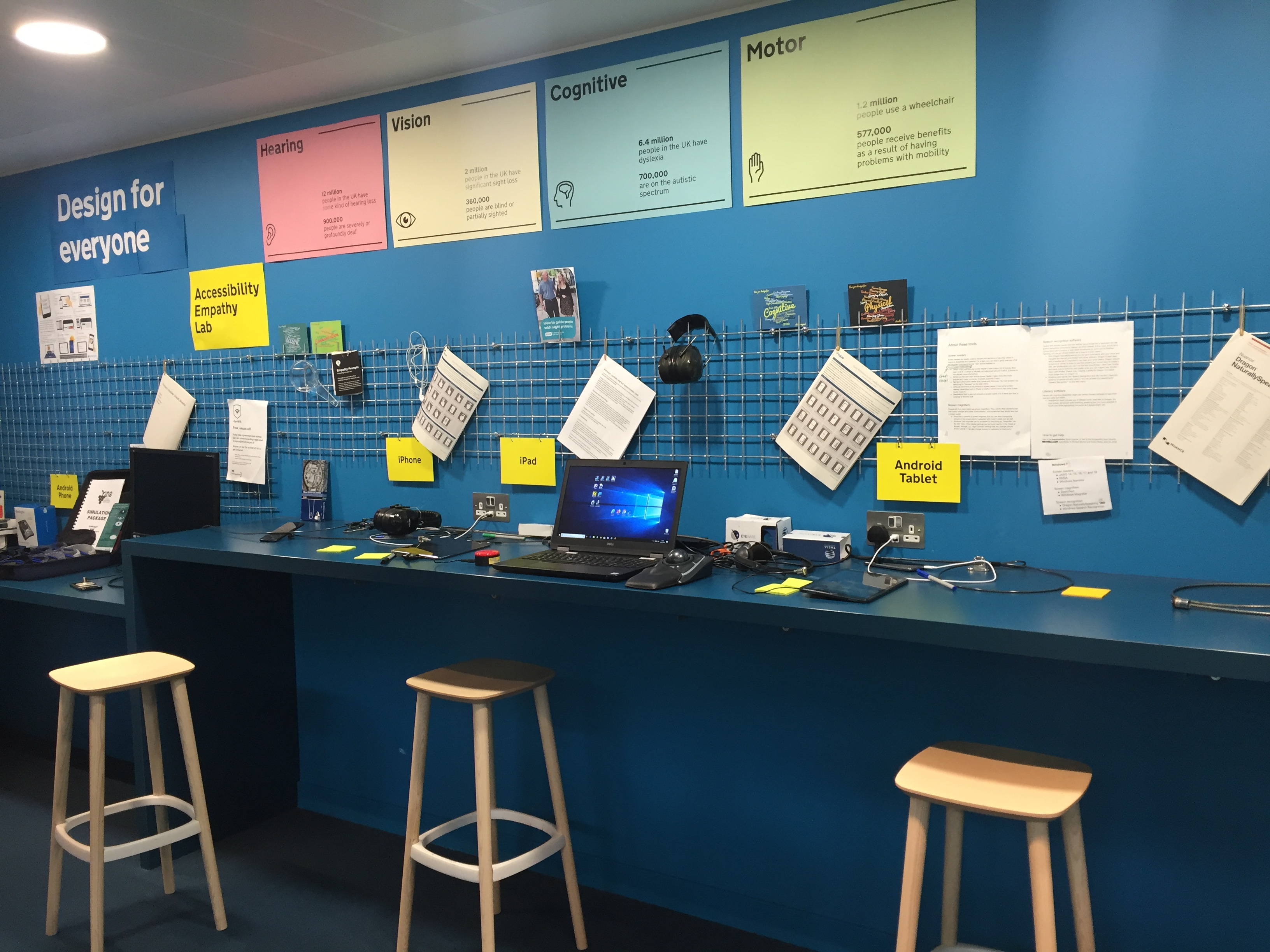 The accessibility empathy lab at the Government Digital Services building