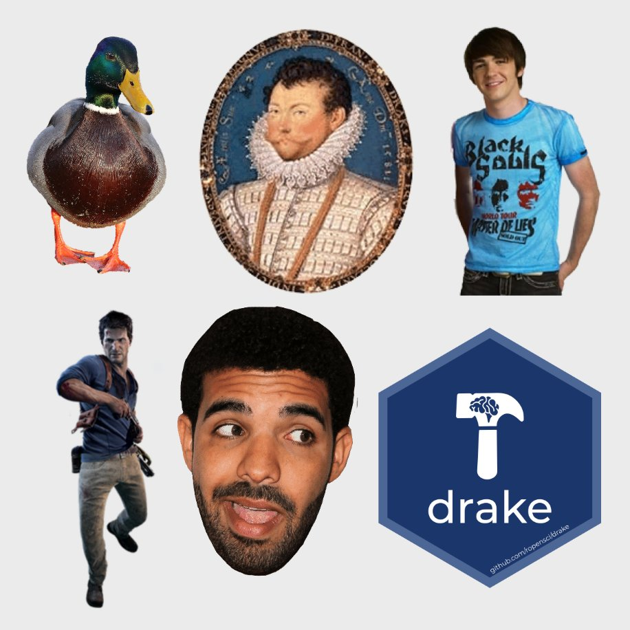 Six images: a male duck, Sir Francis Drake, Drake from the Drake & Josh TV show, Nathan Drake from the Uncharted video games, Drake the musical artist, and the hex sticker for the drake package.