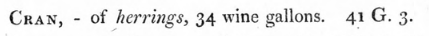 Clip of 1820 report showing a cran as equalling 34 wine gallons.