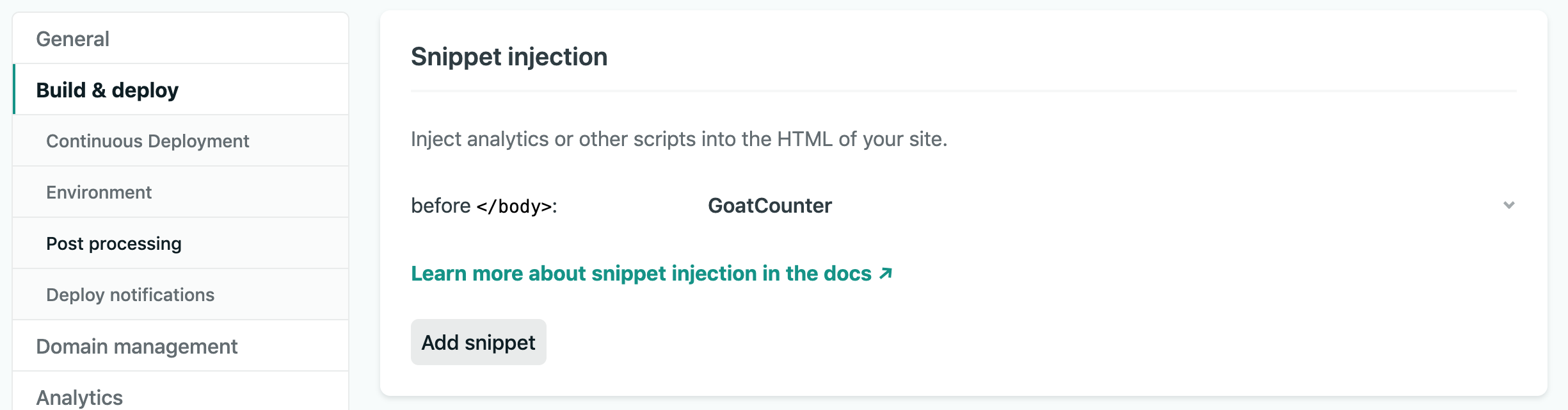 Netlify's HTML injection option confirming the GoatCounter code snippet used to count page visits.