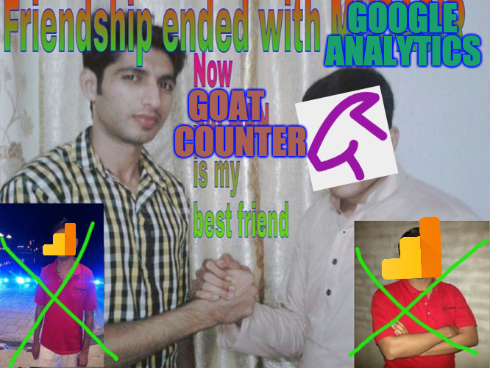 Classic meme showing two men clasping hands with two inset images of another man with a cross drawn through him, with text reading 'Friendship ended with MUDASIR now SALMAN is my best friend'. The text is edited to replace 'MUDASIR' with 'GOOGLE ANALYTICS' and 'SALMAN' with 'GOATCOUNTER'. Mudasir's face is replaced by the Google Analytics logo and Salman's with Goatcounter's.