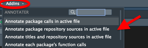 The RStudio addins dropdown menu showing options from the 'annotator' addin.