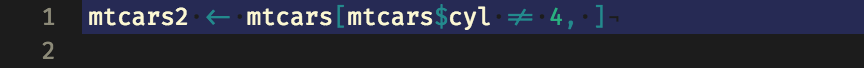 A line of code showing ligatures for the assignment arrow and 'not equal to'.