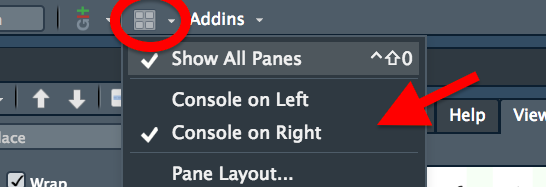 The dropdown menu for altering the layout of pane sin RStudio, showing options for putting the console on the left or right.