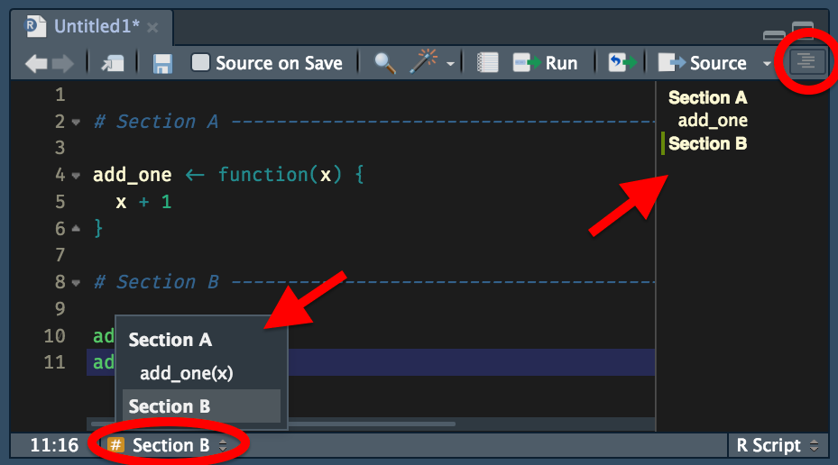The RStudio sctip pane showing the document outline panel and jump to menu, which both show the name of the sections that have been inserted into the file.