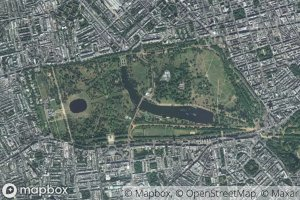 A satellite view of Hyde Park in London, with watermarks of copyrights for Mapbox, OpenStreetMap and Maxar.