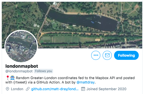 The Twitter profile page for londonmapbot.