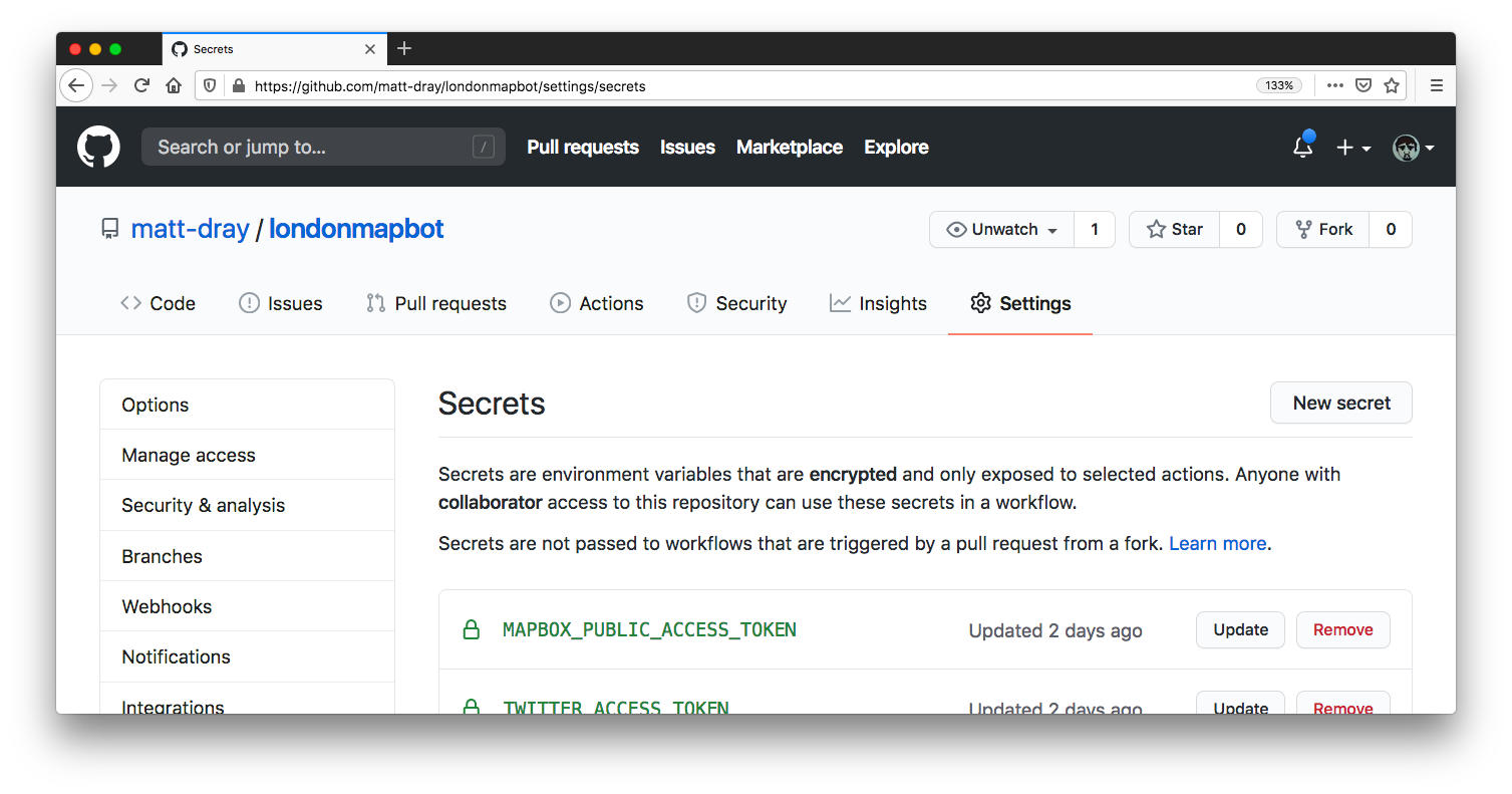The GitHub website opened in the Secrets section of the Settings menu, with an example Mapbox token name being shown.